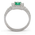 .57ct Diamond & Emerald 18k White Gold Ring