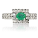 Diamond & Colombian Emerald 18k White Gold Ring