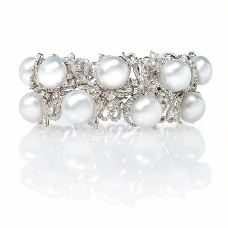 Diamond and South Sea Pearl 18k White Gold Bracelet