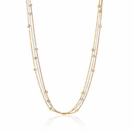 Diamond Chain 18k Three Tone Gold Necklace