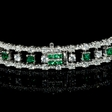 6.60ct Diamond and Tsavorite 18k White Gold Bangle Bracelet
