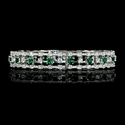 Diamond and Tsavorite 18k White Gold Bangle Bracelet