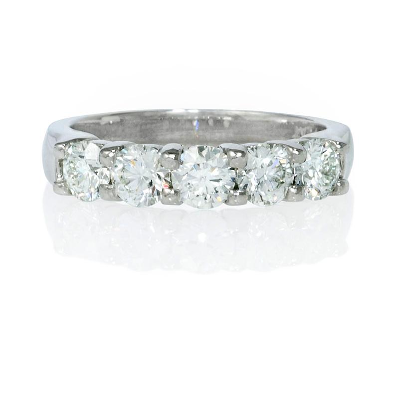 26ct diamond platinum five stone wedding band ring