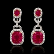 1.66ct Diamond and Ruby 18k Two Tone Gold Dangle Earrings
