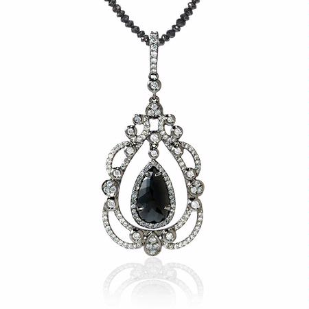 Diamond 18k White Gold and Black Rhodium Pendant