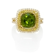 Natalie K Diamond and Peridot 14k Yellow Gold Ring