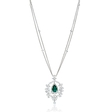 7.68ct Diamond and Emerald 18k White Gold Pendant Necklace