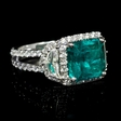 1.82ct Diamond and GIA Certified Emerald 18k White Gold Ring