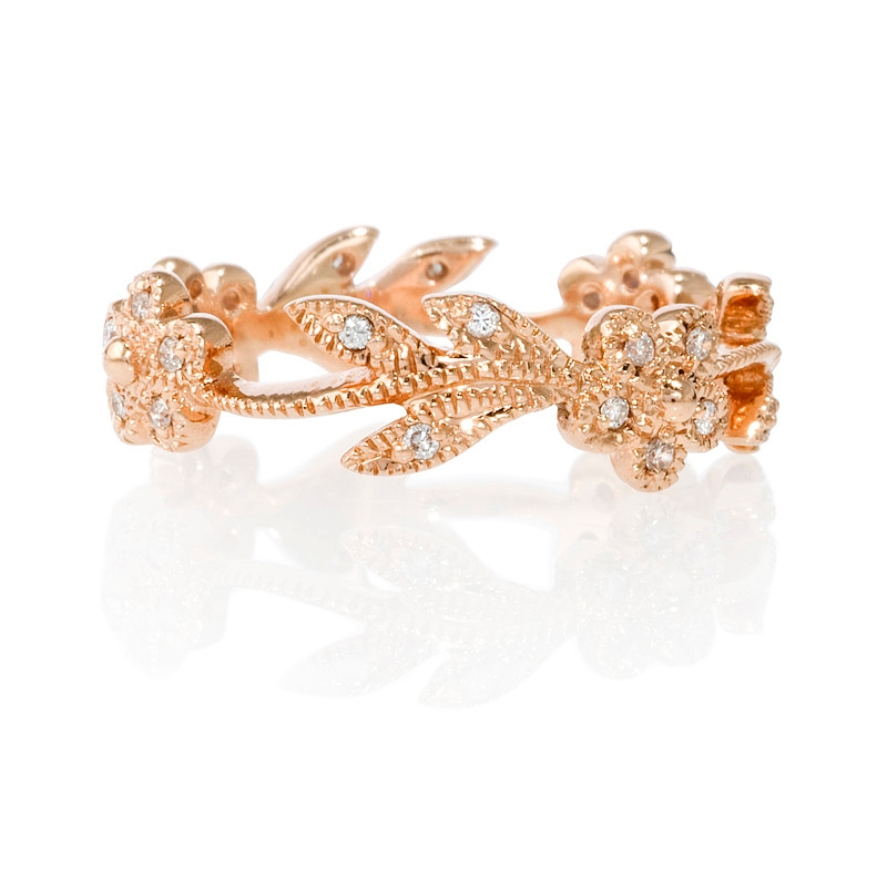 Floral Bands: .15ct Diamond Antique Style 14k Pink Gold Floral Wedding