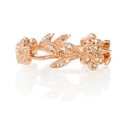Diamond Antique Style 14k Pink Gold Floral Wedding Band Ring