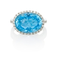 .22ct Diamond and Blue Topaz 14k White Gold Ring