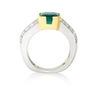 .87ct Diamond and Emerald Platinum and 18k Yellow Gold Ring