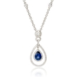 .53ct Diamond and Blue Sapphire 18k White Gold Pendant Necklace