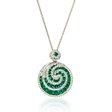 .31ct Diamond and Emerald 18k White Gold Pendant