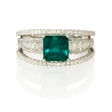 .78ct Diamond and Emerald 18k White Gold Ring