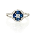 Diamond and Blue Sapphire 18k White Gold Split Shank Ring