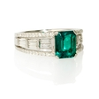 .57ct Diamond and Emerald 18k White Gold Ring