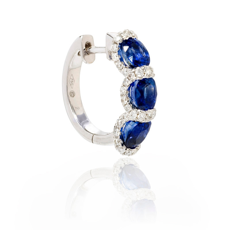 65ct diamond and blue sapphire 18k white gold huggie earrings