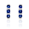 .65ct Diamond and Blue Sapphire 18k White Gold Huggie Earrings