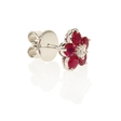 .19ct Diamond and Ruby 18k White Gold Cluster Earrings