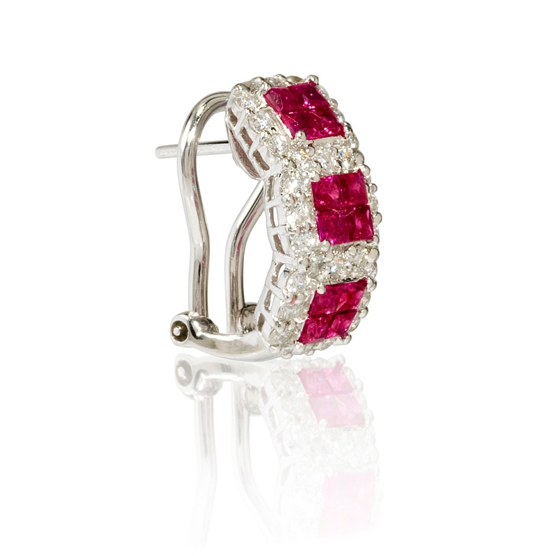 87ct and ruby 18k white gold huggie earrings