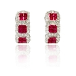 .87ct Diamond and Ruby 18k White Gold Huggie Earrings