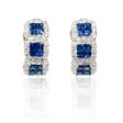 .88ct Diamond and Blue Sapphire 18k White Gold Huggie Earrings
