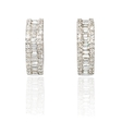 .71ct Diamond Baguette and Round Brilliant Cut18k White Gold Huggie Earrings
