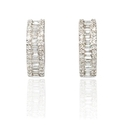 Diamond Baguette and Round Brilliant Cut 18k White Gold Huggie Earrings