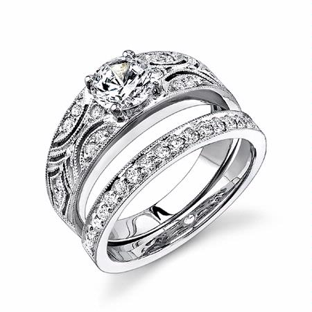 Simon G Diamond Antique Style Platinum Wedding Band Ring