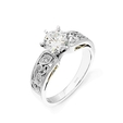 .07ct Simon G Diamond Antique Style Platinum and 18k Yellow Gold Engagement Ring Setting