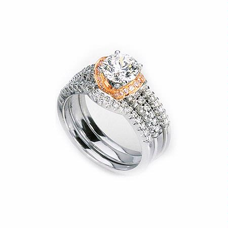 Simon G Diamond Platinum and 18k Rose Gold Engagement Ring Setting