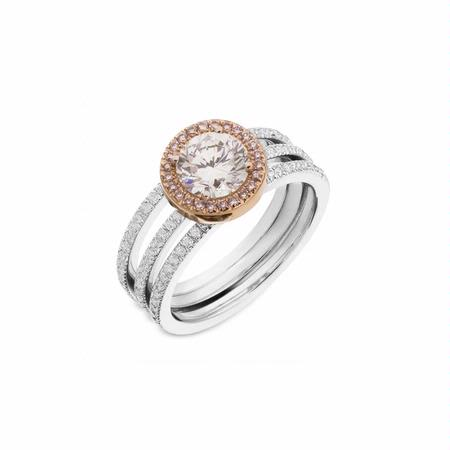 Simon G Diamond Platinum and 18k Rose Gold Halo Engagement Ring Setting