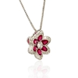 .34ct Diamond and Ruby Antique Style 18k White Gold Pendant