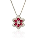 Diamond and Ruby Antique Style 18k White Gold Pendant