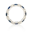 .65ct Diamond and Blue Sapphire 18k White Gold Eternity Wedding Band Ring