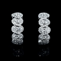 Diamond 18k White Gold Scallop Edge Huggie Earrings