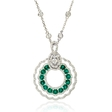 .63ct Diamond and Emerald 18k White Gold Pendant
