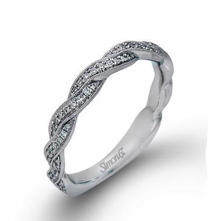 Simon G Diamond Antique 18k White Gold Wedding Band Ring