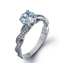 Simon G Diamond Antique 18k White Gold Engagement Ring Setting