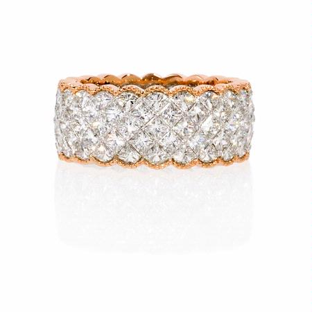 Simon G Diamond Antique 18k Two Tone Gold Eternity Wedding Band Ring