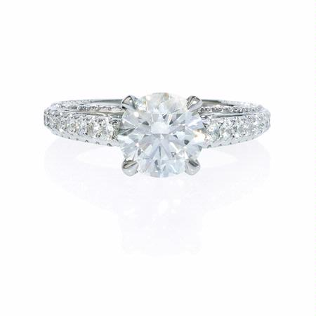 Diamond Cathedral Pave Platinum Engagement Ring Setting