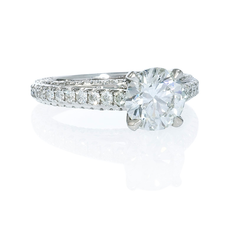 71ct Diamond Cathedral Pave Platinum Engagement Ring Setting