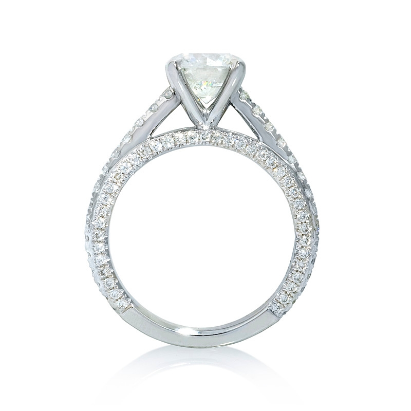 71ct cathedral pave platinum engagement ring setting