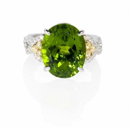 Simon G Diamond and Peridot 18k White Gold Ring