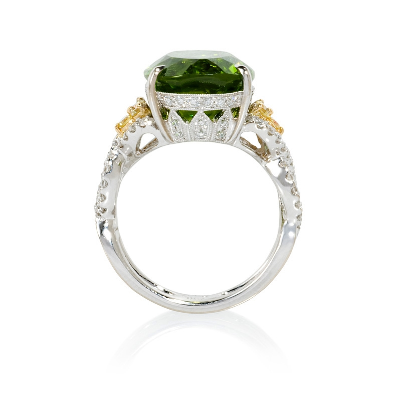 80ct simon g and peridot 18k white gold ring
