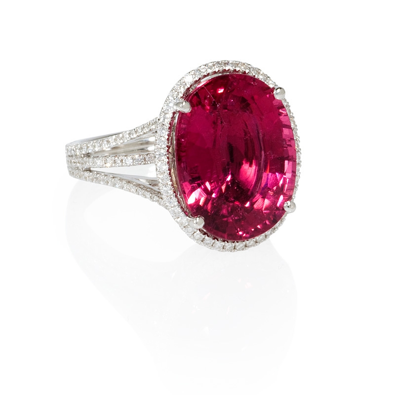 68ct diamond and rubellite 18k white gold ring
