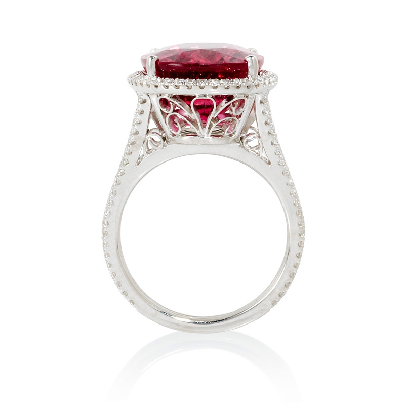 68ct and rubellite 18k white gold ring