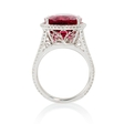 .68ct Diamond and Rubellite 18k White Gold Ring