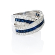 2.09ct Diamond and Blue Sapphire 18k White Gold Ring